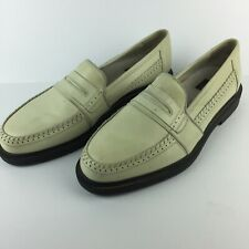 CABLE & CO. Mens Cream Leather Penny Loafers Slip-On Shoes Made in Italy 11 D
