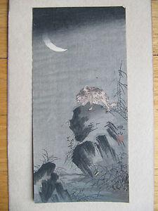 Mori Tetsuzan pre-earthquake Japanese woodblock print Badger Rock
