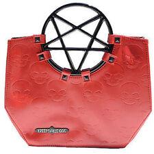 Kreepsville 666 Pentagram Handle Rock Death Skull Skeleton Emo Red Bag Purse