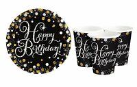 Teller + Becher zu jedem Geburtstag gold schwarz silber Party Deko Set 16 Teile