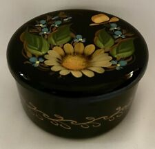 Vintage Russian Lacquer Hand-Painted Round Metal Box with Sunflower & Others