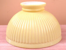 Antique Cased Glass Student Lamp Shade Globe Lemon Yellow Rough Edges R