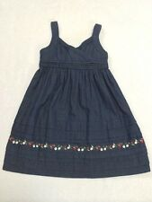 Janie And Jack 3T Strawberry Sweet Chambray Denim Embroidered Dress