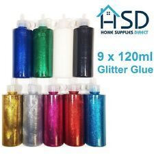 9x 120ml Glitter Glue Fine Sparkling Tubes Mix Assorted Colour Glitterglue Paint