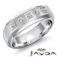 7mm Men Wedding Band Facinating Princess Round Diamond Solid Ring Platinum 0.3Ct