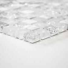 Fliesen Mosaik Mosaikfliesen Bad Küche WC weiß Mix Crystal Stein Neu 8mm #468