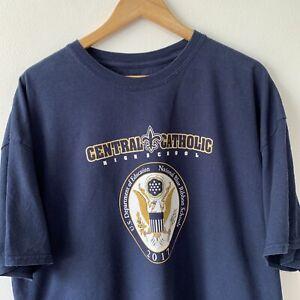 Navy Blue T-Shirt Size 2XL XXL USA Central Catholic High School Graphic Print