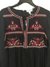 Nwt Anthropologie OU Beach Lunch Lounge Folkloric Embroidered Floral Dress M