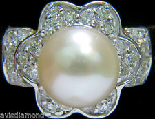 █$2500 7.5mm JAPANESE CULTURED PEARL .75CT DIAMOND RING 14kt █ DAISY DECO