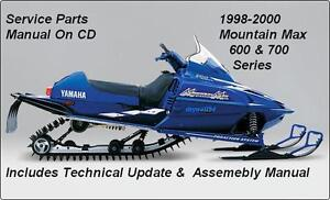1998 - 2000 Yamaha Mountain Max 600 & 700 Snowmobile Service&Repair Manual On CD