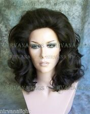 Dark Brown Lots of Volume Med Length Drag Queen Mens Womens Wig