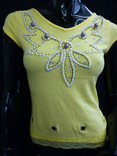 Womens Ladies New Colorful Flower Sequin Bead Top- 6 Colours (One size) 820