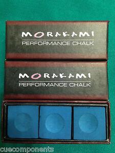 Morakami Chalk BLUE Pool Cue Billiard Chalk 3 Pieces - Performance Chalk - $ave