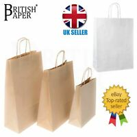 PAPER BAGS WITH HANDLES WHITE BROWN KRAFT CARRIER PARTY GIFT SMALL LARGE 50 100