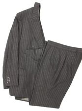 """Dunhill Tailors NY Oxford Grey Chalk Stripe Flannel DB (Custom) Suit"" Sz: 44L"