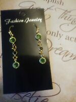 Peridot and Onyx 14k yellow gold over sterling silver drop dangle earrings