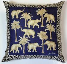 """Classic Jim Thompson 'Thai Elephant' Blue Pillow"""