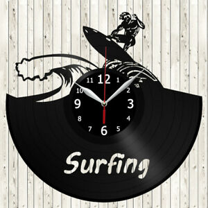 Surfing Vinyl Record Wall Clock Decor Handmade 4133