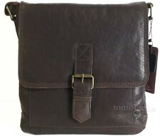Medium Sized Brown Leather Messenger Shoulder Utility Man Bag Manbag