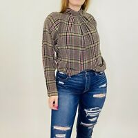 Vintage Mod Silk Plaid Mock Neck Pleated Long Sleeve Brown Blouse S/M Womens