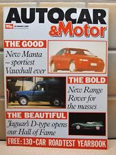 AUTOCAR & MOTOR MAGAZINE 29 MARCH 1989 VAUXHALL MANTA RANGE ROVER JAGUAR D TYPE