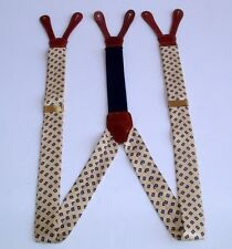 BROOKS BROTHERS ALL OVER PRINT SILK/LEATHER SUSPENDERS BRACES w/BRASS HARDWARE