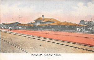 H60/ Hastings Nebraska Postcard c1909 Burlington Railroad Depot  149