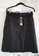 Next Smart Casual Linen Blend Black Skirt Size UK 10 /36 New+ Tags
