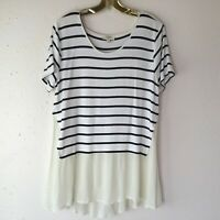 Umgee Black White Striped T Shirt Front Cream Flowy Back Top Women's Size Large