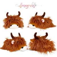 Loungeable Mens Novelty 3D Highland Cow Design Slip on Warm Soft Plush Slippers