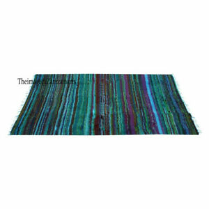 4x6 ft Rugs Multi Bllu Cotton Chindi Hand Woven Area Rug Room Floor Carpet Throw