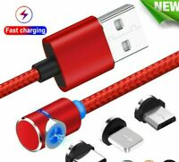 Magnetic Fast Charger Cable Apple iPhone Samsung Android iPad iPod Type-C Micro