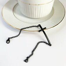 Black Metal Christian Cross Bracelet Chain Minimalist
