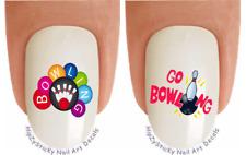 "Nail Art #301 SPORTS Bowling #1 Pins ""Go Bowling"" Waterslide Nail Decal Transfer"