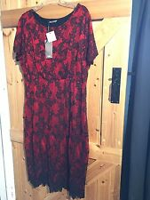 "New Black & Red Dress Size 20 Chest 44"" By TU Gorgeous Dress"