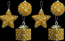 6 x Gold Diamante Polka Dot Christmas tree Baubles Decorations