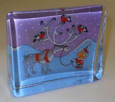 Iittala Christmas Glass Card Bullfinch Reindeer Browie Pekka Vuori Sign Finland