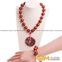 Handmade 16mm Red Jasper Round Beaded Necklace & Bracelet Fashion Jewelry Set