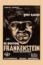 BORIS KARLOFF el doctor FRANKENSTEIN vintage movie poster SPOOKY 24X36 rare