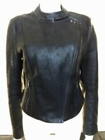 Auth. French Connection Black Moto Biker 100% Leather Asymmetric Jacket, Size 10