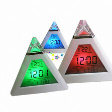 Pyramid LED Mood Alarm Clock Temperature 7 Colors LED Change Backlight KID GIFT