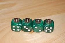 DUDDS DICE GREEN MARBLE w/WHITE DOTS VALVE STEM CAPS (4 PACK) #64