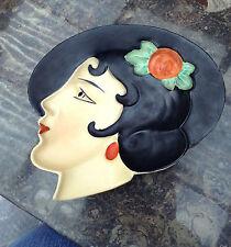 Royal Dux Czechoslovakia Art Deco Wall Mask Lady Ashtray Dish 1930s rare