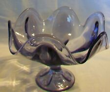 Purple & Clear Iridescent Blown Glass Candy Centerpiece Bowl Scalloped edges