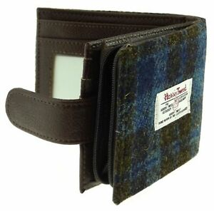 Harris Tweed 'Barra' Wallet with Coin Section in Blue/Brown Check LB2105-COL40