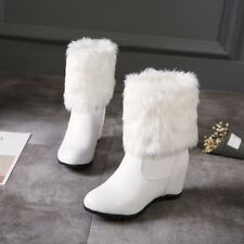 Women Hidden Wedge Heels Winter Faux Fur Furry Snow Ankle Boots Fashion Shoes UK