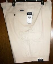 """Mens Cargo Shorts sz 42 CHAPS """"New Stone"""" 100% Washed Cotton NWT"""