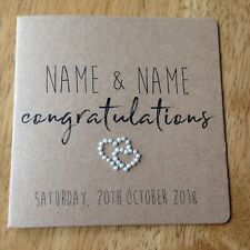 Handmade Personalised Wedding Day card (entwined pearl heart)