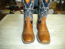 Mens Boulet Canada Brown / Blue Sq. Toe Full Quill Ostrich Boots 8 C