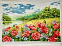 """NEW Finished completed cross stitch""""Poppy Garden""""home decor gifts"""